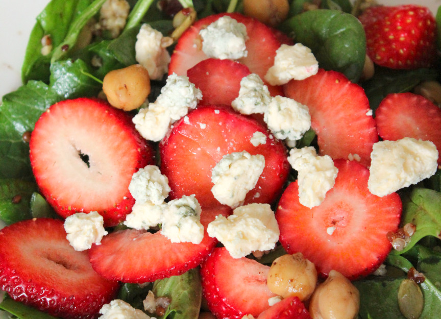 Wilted Spinach Salad with Strawberries and Goat Cheese