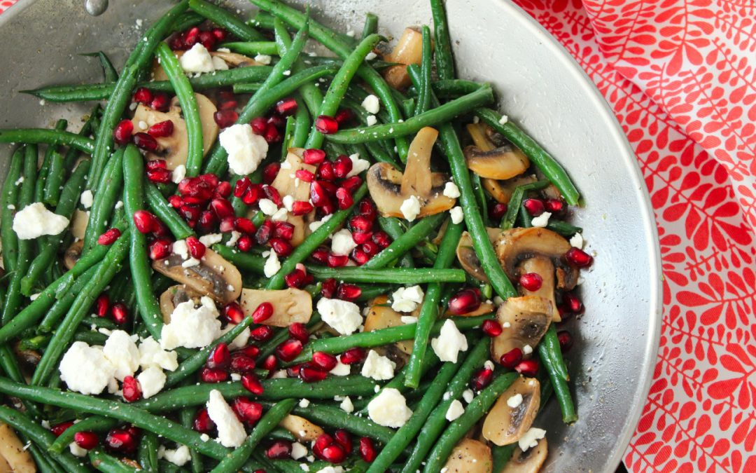 Healthy Green Beans with Mushrooms and Pomegranates